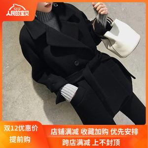 赫本风双面羊绒大衣女2019秋冬新款韩版宽松中长款腰带羊毛呢外套