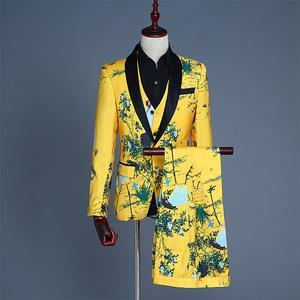 春裝新款亮眼男士西服三件套裝仙鶴印花男裝西裝修身休閑小個子