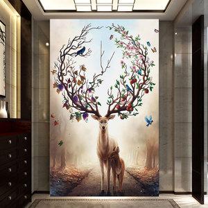 十字绣客厅2018新款发财鹿线绣3d麋鹿欧式简约现代风景玄关画竖版图片