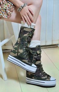 韓版內增高10厘米厚底松糕底休閑女鞋帆布鞋迷彩高幫系帶女靴包郵