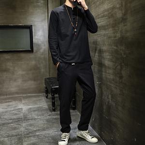 套装秋季中国风男装棉麻立领长袖T恤加大码修身中式复古风两件套