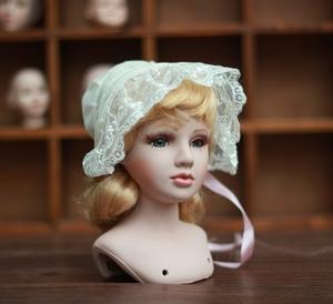 帽子 蕾丝布帽子 乡村田园 可爱古董陶瓷娃娃配件 帽子