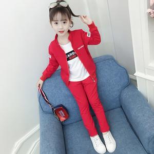 女童秋裝套裝2019新款韓版時髦洋氣女大童春秋款兒童裝運動三件套