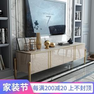 輕奢時尚大理石茶幾電視柜組合后現代簡約新款巖板電視機高柜臥室