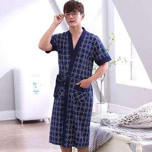深色睡袍男士浴袍男性感春夏季短袖純棉中年爸爸睡衣日式長袍外披