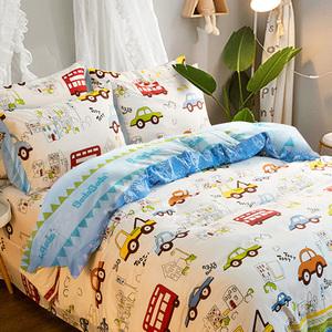 卡通四件套男孩小汽车床上用品纯棉全棉床品单人3件套儿童三件套