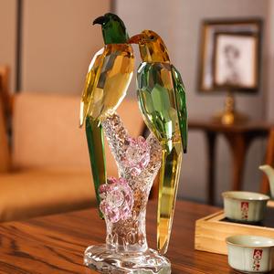 水晶鳥擺件喜鵲新婚禮物喬遷客廳酒櫃裝飾品小家居飾品工藝品擺件