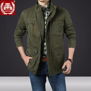 战地吉圃青年男士外套男春秋季商务休闲夹克男装外套秋季上衣服潮