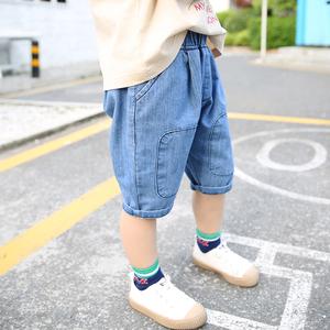 男童短裤夏薄款小童洋气牛仔裤宝宝休闲宽松儿童中裤男孩七分裤潮