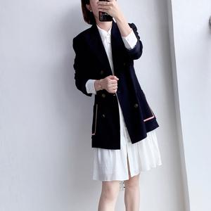 19春夏~元 休閑時髦帥氣海軍風插袋雙排扣長袖深藍色西裝外套女