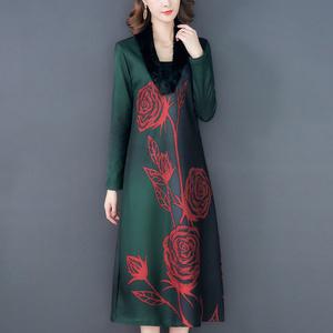 民族風秋冬女裝新款四十多歲大碼40歲媽媽秋裙冬天穿的連衣裙加厚