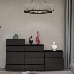 北歐現代簡約五鬥櫃儲物櫃黑色三四鬥櫥實木抽屜式收納櫃輕奢邊櫃