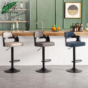 竹璟歐式吧臺椅升降旋轉輕奢吧椅鐵藝美式高腳靠背椅家用簡約凳子