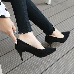 秋冬新款OL工作鞋绒面百搭少女单鞋十八岁学生5-7CM高跟鞋细跟