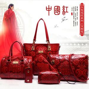 2019春季新款中国风女包时尚子母包六件套压花单肩包斜挎手提大包
