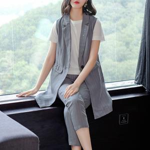 米肯2019夏裝新款時尚馬甲西裝兩件套修身小腳褲條紋亞麻套裝女潮