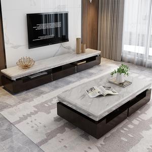 凱帕奇現代簡約大理石台面茶幾電視櫃組合套裝小戶型客廳茶桌家具