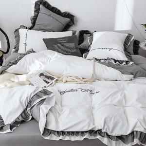 水洗棉床上用品四件套床單被罩三件套被子北歐公主風少女心4被套