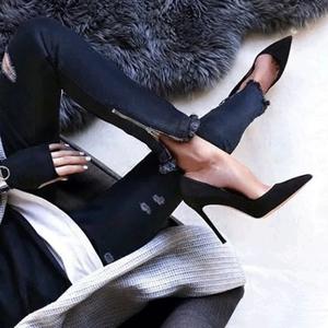 2019新款女春季單鞋黑色高跟鞋女細跟職業工作淺口鞋女10cm紅裸色