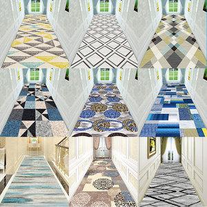 北欧现代简约宾馆酒店楼梯走廊过道家用长条地毯客厅卧室床边垫子
