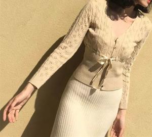 升级版  Lacemade同款V领镂空钩花针织衫复古系腰带小开衫