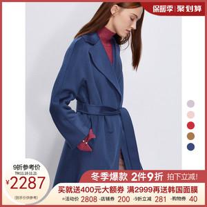 朗姿2019秋冬新款女装简约洋气中长款水波纹羊毛双面毛呢外套大衣