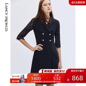 朗姿2020年春裝新款西服領連衣裙女蕾絲拼接七分袖A字裙OL通勤