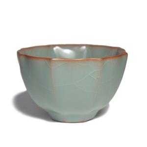 台湾柏采窑茶具 汝窑茶杯柏采窑秘色釉八方云集杯 品茗杯功夫茶杯