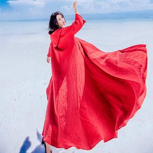 2019秋冬新款复古小红帽披风新疆西藏度假拍照斗篷女加绒棉麻外套