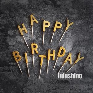 派对生日蛋糕蜡烛 字母蜡烛 happy birthday 镭射金属色