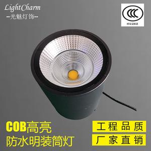 户外防水明装筒灯圆形吸顶LED天花灯雨棚天棚灯车站地铁站射灯