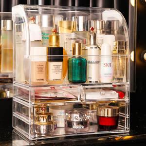網紅透明防塵化妝品收納盒大容量桌面口紅首飾整理抽屜式置物架女