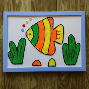 益智儿童手工diy制作 幼儿园材料包趣味亲子毛线黏贴画 新颖鱼a4