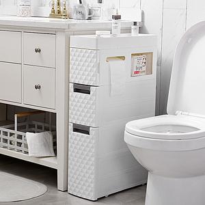 18CM衛生間夾縫置物架塑料落地式多層廁所縫隙架浴室馬桶邊收納柜