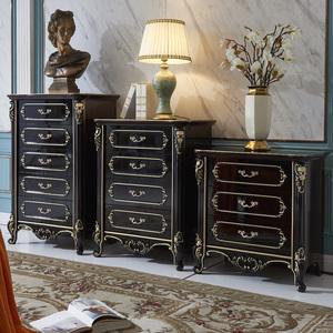 歐式五鬥櫃四鬥櫥客廳臥室簡約美式三鬥櫃組合抽屜式儲物櫃黑纏色