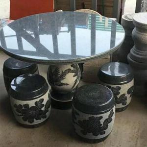 石桌石凳戶外花園大理石石桌椅花崗巖石桌別墅庭院圓形精品石桌椅