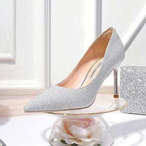 明星同款新银色尖头高跟鞋女细跟成人礼亮片单鞋银粉水晶伴娘婚鞋