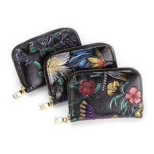 時尚彩繪風琴卡包女多卡位 真皮拉鏈小卡包迷你隨身小包零錢包