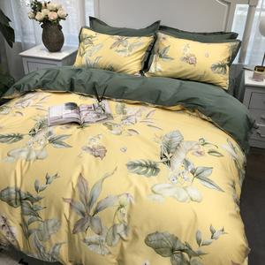 美式田园花卉纯棉贡缎长绒棉四件套全棉床单被套1.8m床上用品春夏