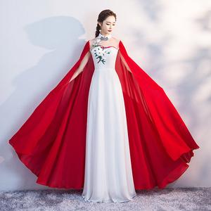 2019新款春季长款修身改良中国风旗袍裙舞台走秀表演出服装仙女裙