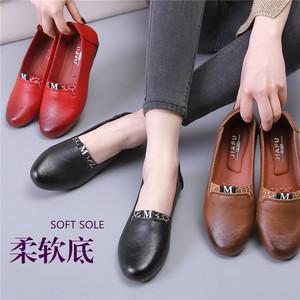 妈妈鞋休闲春秋百搭软底一脚蹬舒适中老年单鞋平底防滑中年女皮鞋