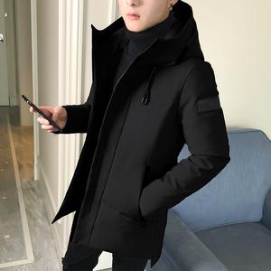 羽絨服男中長款冬季新款韓版潮流帥氣2019輕薄款加厚男裝冬裝外套