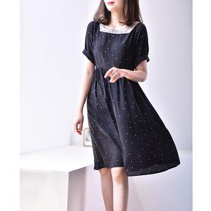 黑色真絲連衣裙女2020新款夏季復古方領中長裙桑蠶絲波點印花裙子