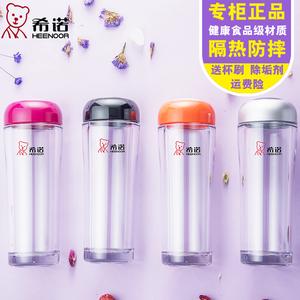 希諾塑料杯女便攜迷你小水杯可愛隔熱杯透明耐摔防摔學生兒童水杯