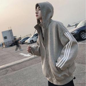 美麗的臟店2019韓國經典三杠條紋運動衛衣外套學生寬松連帽衛衣男