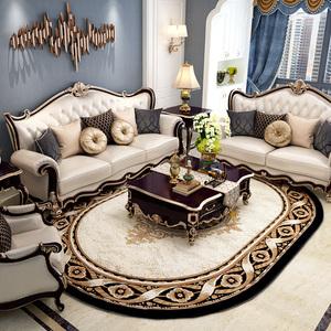 紳士狗歐式地毯客廳臥室床邊茶幾橢圓形辦公室現代輕奢大面積地墊