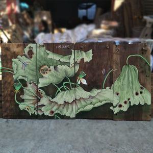 老樟木板手绘画风化木板画会所客厅装饰漆画茶楼无框挂画老木头画