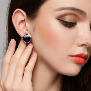 925純銀鑲嵌黑瑪瑙耳扣日韓簡約耳釘女款個性耳夾氣質耳飾老銀匠