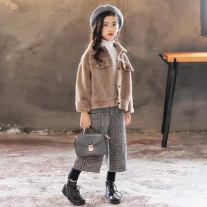 2018新款秋冬加绒加厚外套女童儿童上衣童装大童洋气毛呢仿水貂。