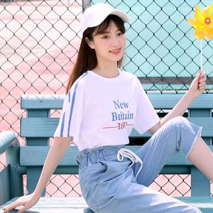 少女夏装初中生韩版宽松T恤学院风中学生上衣高中生夏季短袖套装